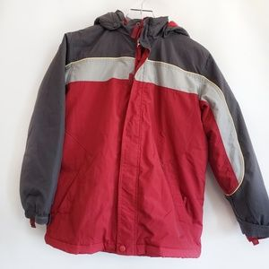 Boys winter snow jacket size 14 red grey